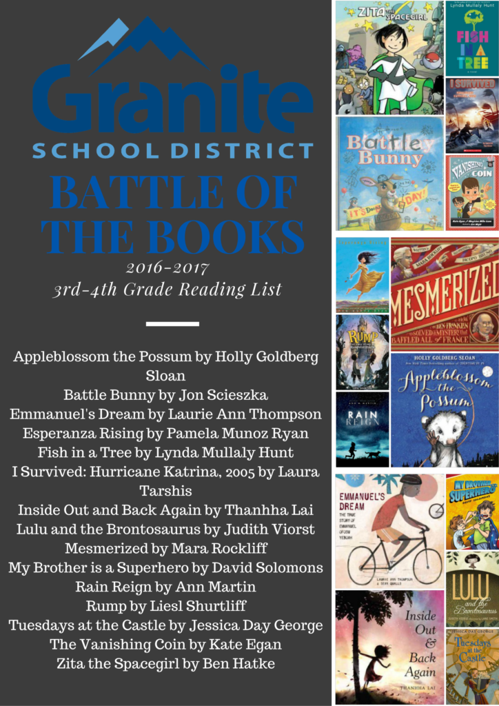 2016-17 Battle of the Books 3rd-4th Grade Reading List