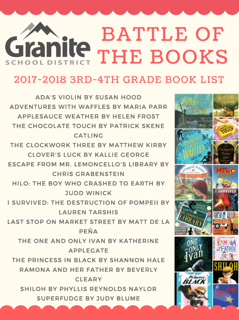 Granite Battle Of The Books 2017 2018 Book Lists Granite Media