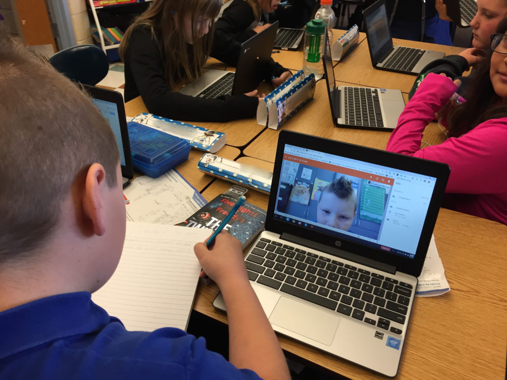 Students record themselves reading their poems using the Screencastify Chrome Extension
