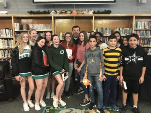 Author Brendan Reichs with Evergreen Jr. High students
