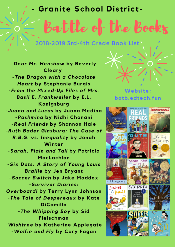 2018-2019 Granite Battle of the Books 3rd-4th Grade Book List