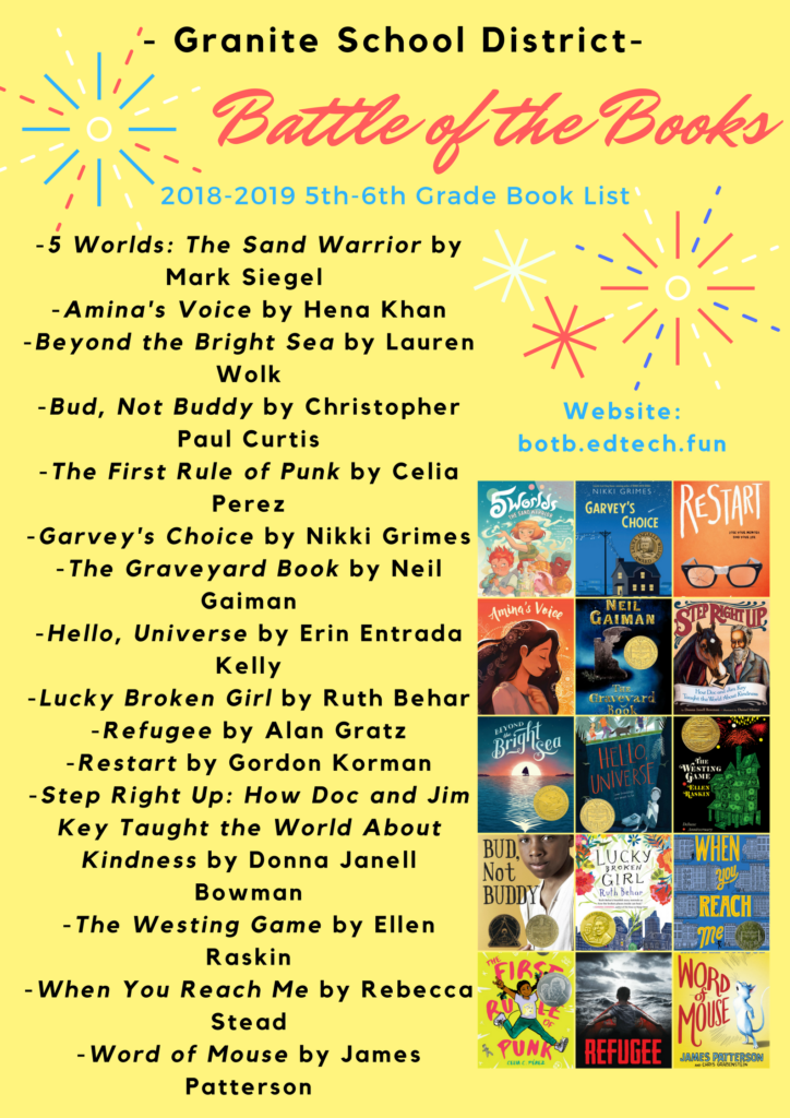 2018-2019 Granite Battle of the Books 5th-6th Grade Book List