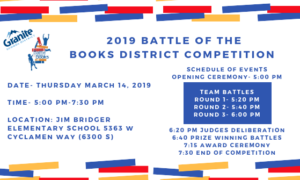 Countdown to Battle of the Books 2019 District Elementary Competition