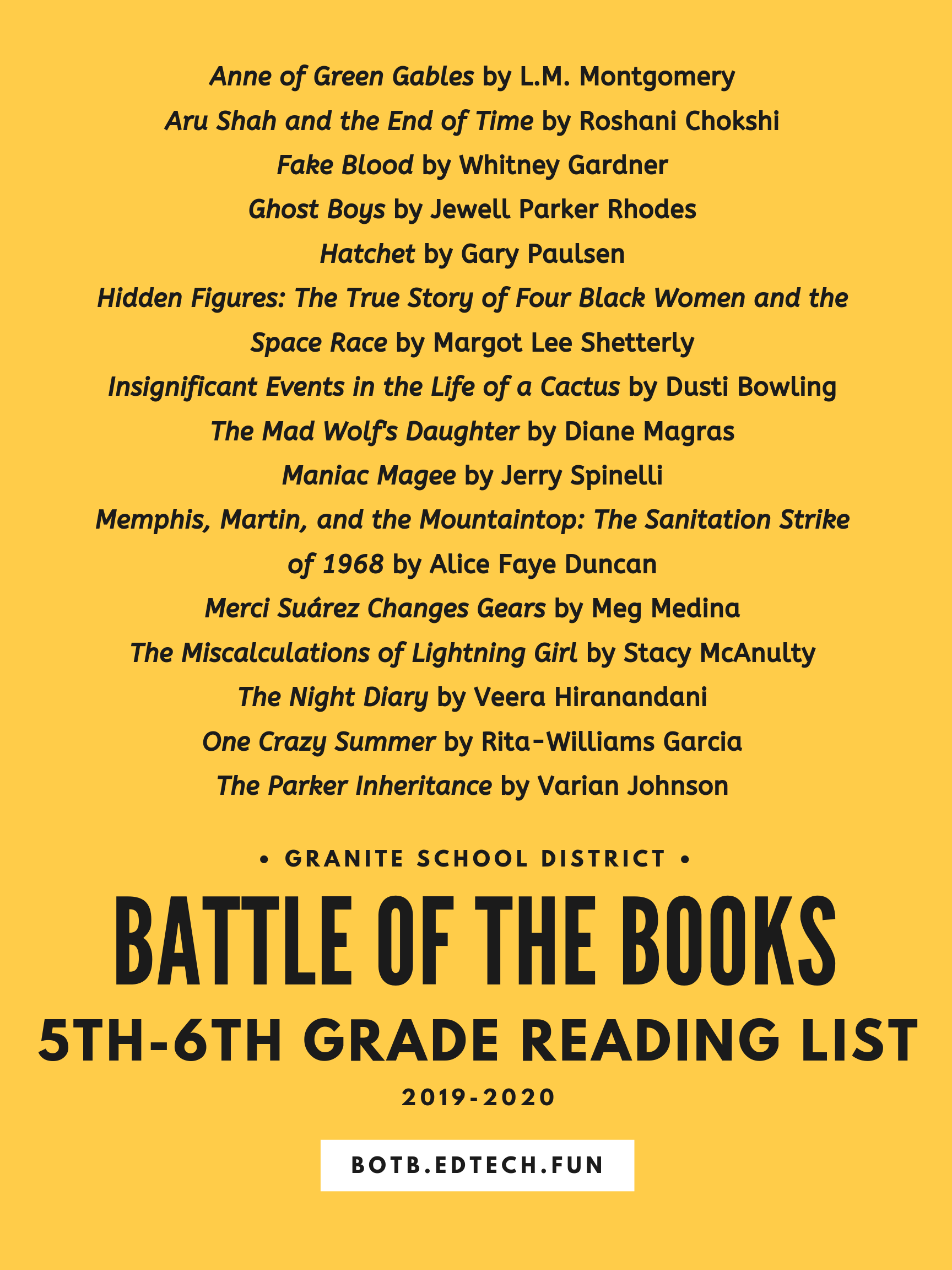 List Of 2020 Books.Granite Battle Of The Books 2019 2020 Reading Lists