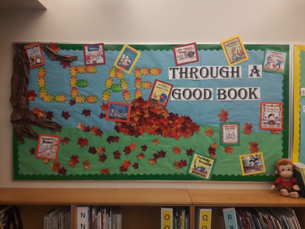 Leaf Through a Good Book Display - Nanette Warr and Susan Brough, Monroe Elementary