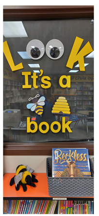 """Look It's a [Beehive] Book"" Library Display at Fox Hills Elementary, by media clerk Laura Schmidt"