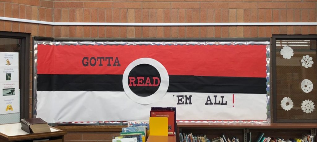 "Pokemon ""Gotta Read 'Em All!"" Library Bulletin Board at Silver Hills Elementary, by media clerk Clerice Hampton"