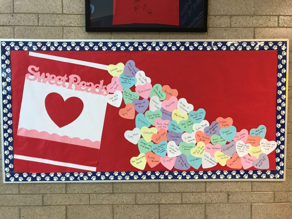 """Sweet Reads"" Library Bulletin Board at Granger Elementary, by Candis Macdonald"