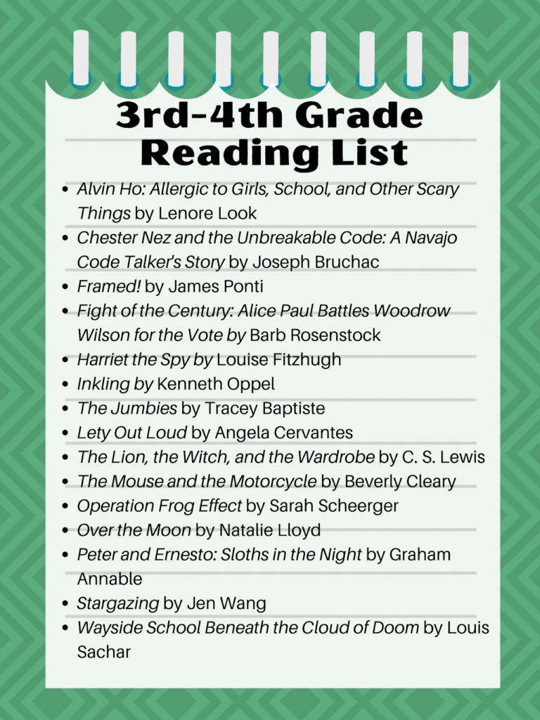 3rd-4th Grade Best Books Challenge Reading List, 2020-21