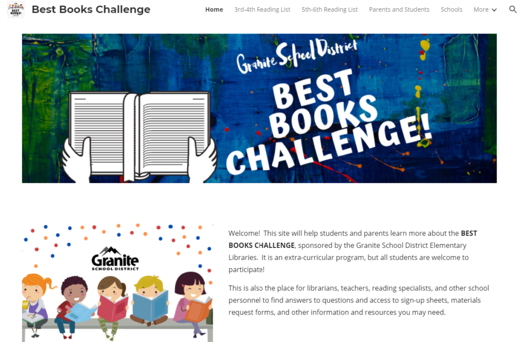 Granite Best Books Challenge Website - Screenshot