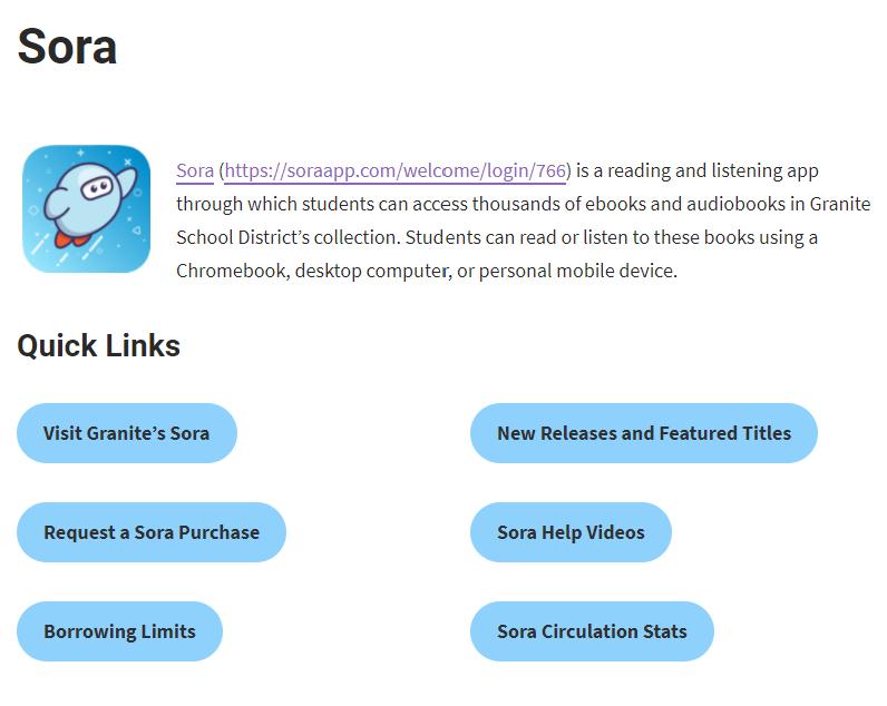 Granite's Sora Help Page and Quick Links (https://www.graniteschools.org/edtech/sora/) – Screenshot