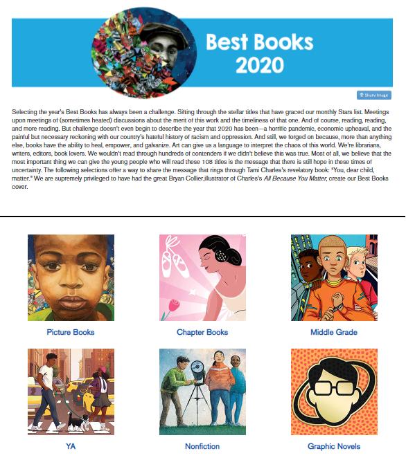 School Library Journal Best Books 2020 - Screenshot