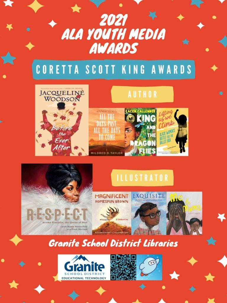 2021 ALA YMA Posters - Granite Libraries - Coretta Scott King Awards